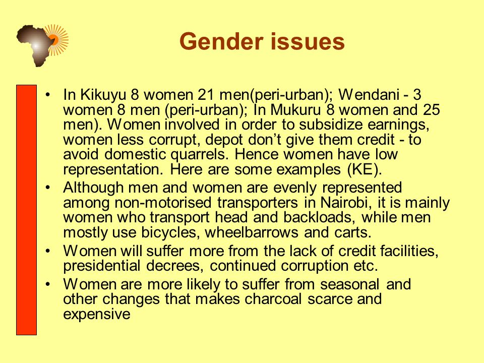 Gender issues In Kikuyu 8 women 21 men(peri-urban); Wendani - 3 women 8 men (peri-urban); In Mukuru 8 women and 25 men).