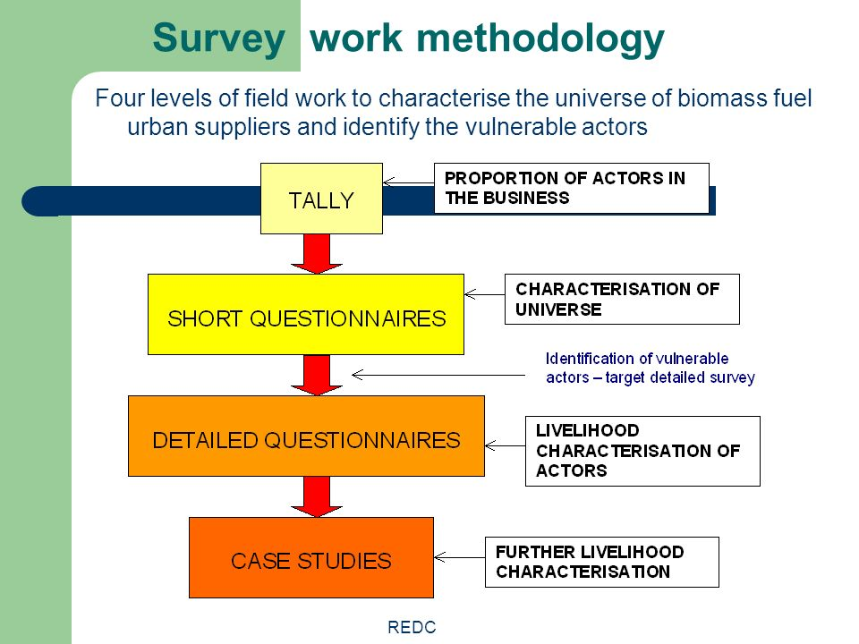 REDC Survey work methodology Four levels of field work to characterise the universe of biomass fuel urban suppliers and identify the vulnerable actors