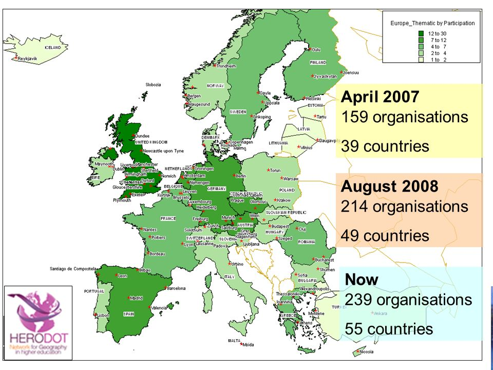 April 2007 159 organisations 39 countries August 2008 214 organisations 49 countries Now 239 organisations 55 countries