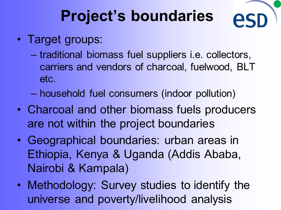 Projects boundaries Target groups: –traditional biomass fuel suppliers i.e.