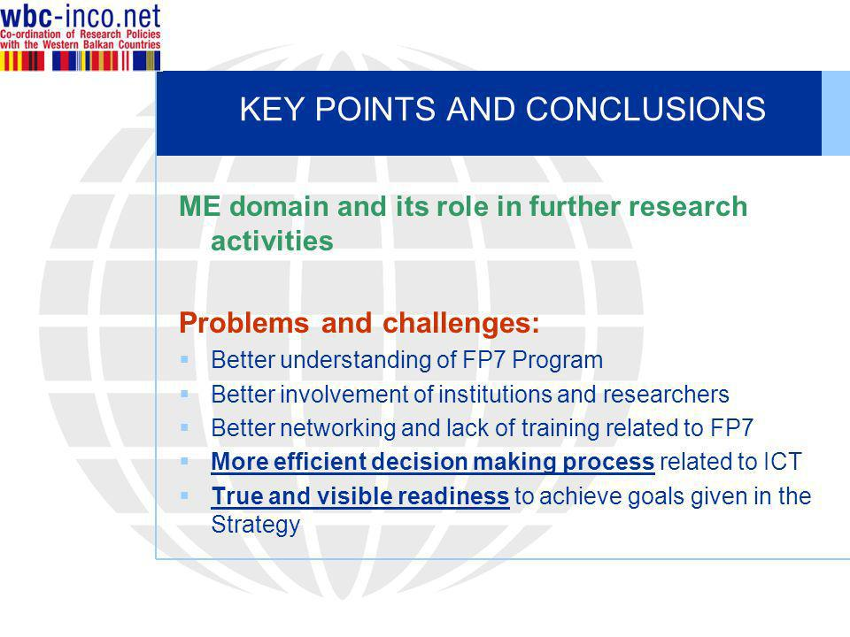 KEY POINTS AND CONCLUSIONS ME domain and its role in further research activities Problems and challenges: Better understanding of FP7 Program Better i