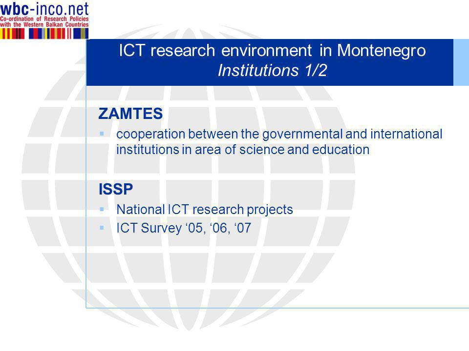 ICT research environment in Montenegro Institutions 1/2 ZAMTES cooperation between the governmental and international institutions in area of science