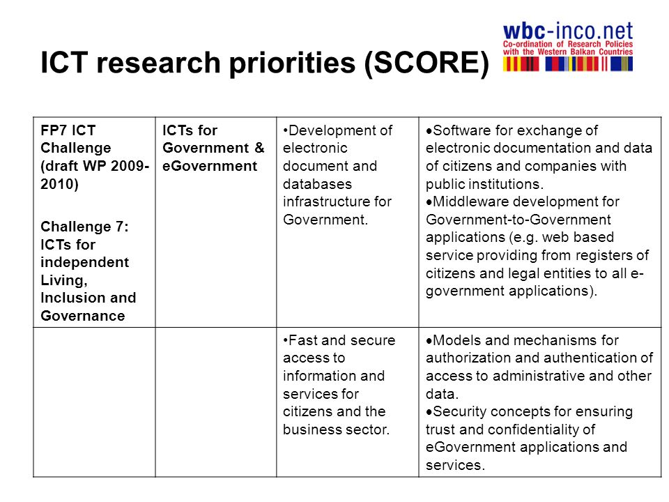 ICT research priorities (SCORE) FP7 ICT Challenge (draft WP ) Challenge 7: ICTs for independent Living, Inclusion and Governance ICTs for Government & eGovernment Development of electronic document and databases infrastructure for Government.