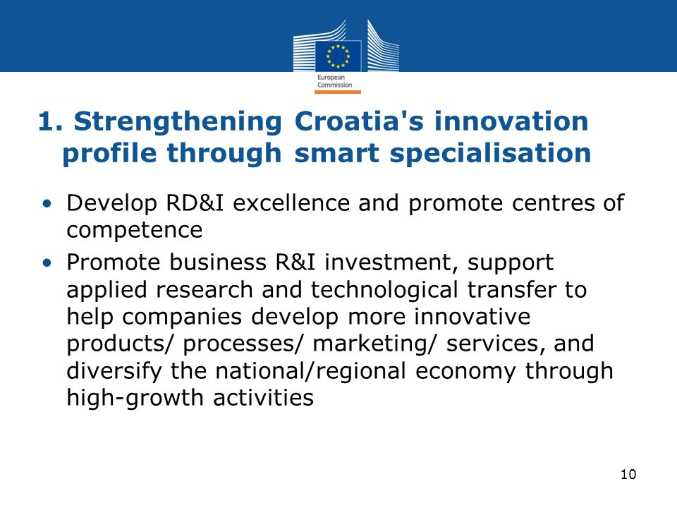 1. Strengthening Croatia's innovation profile through smart specialisation Develop RD&I excellence and promote centres of competence Promote business