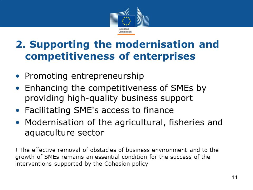 2. Supporting the modernisation and competitiveness of enterprises Promoting entrepreneurship Enhancing the competitiveness of SMEs by providing high-
