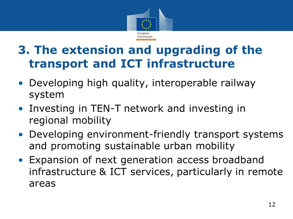 3. The extension and upgrading of the transport and ICT infrastructure Developing high quality, interoperable railway system Investing in TEN-T networ