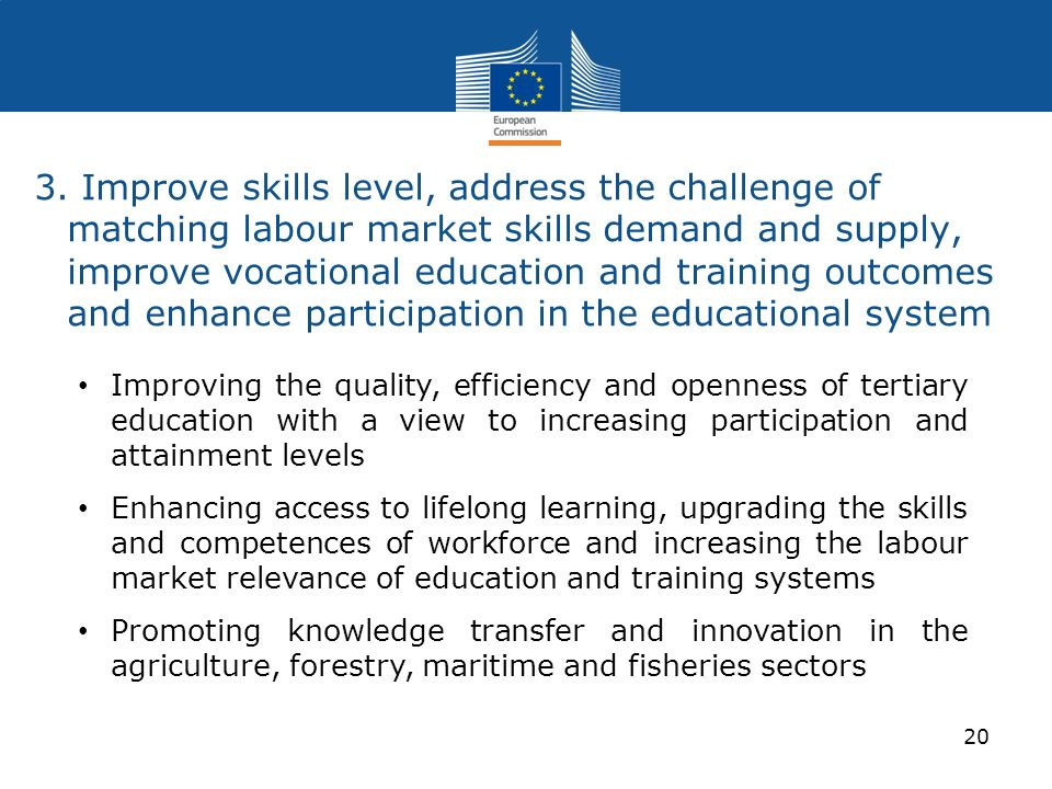 3. Improve skills level, address the challenge of matching labour market skills demand and supply, improve vocational education and training outcomes