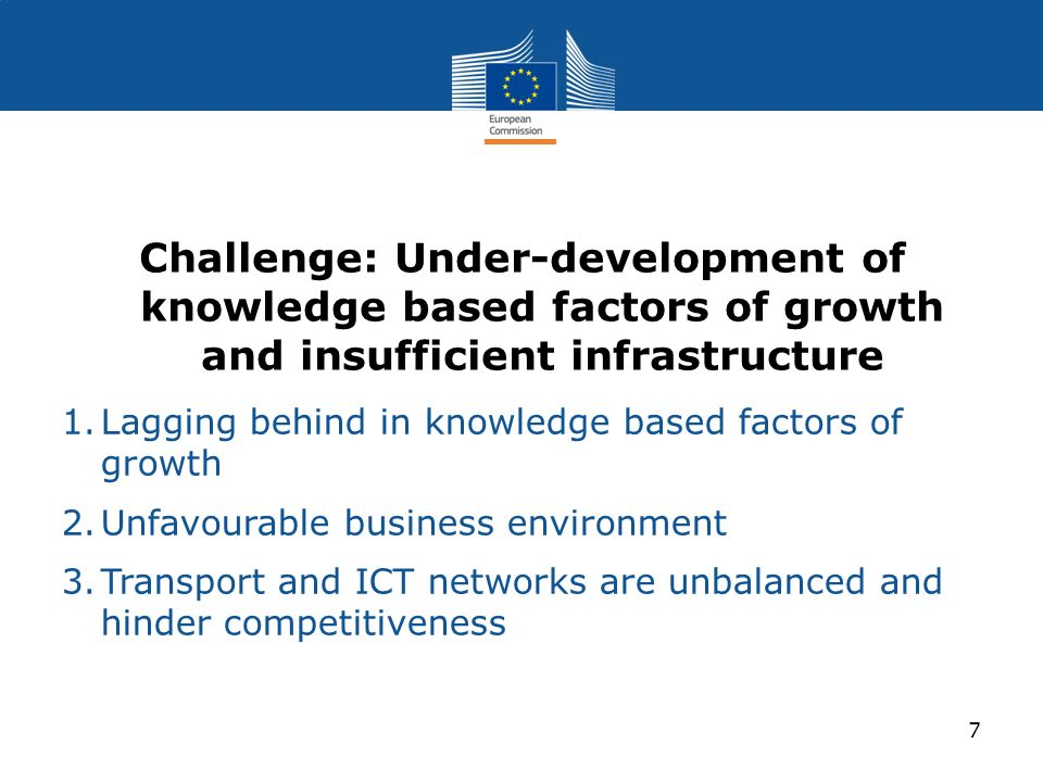 Challenge: Under-development of knowledge based factors of growth and insufficient infrastructure 1.Lagging behind in knowledge based factors of growt