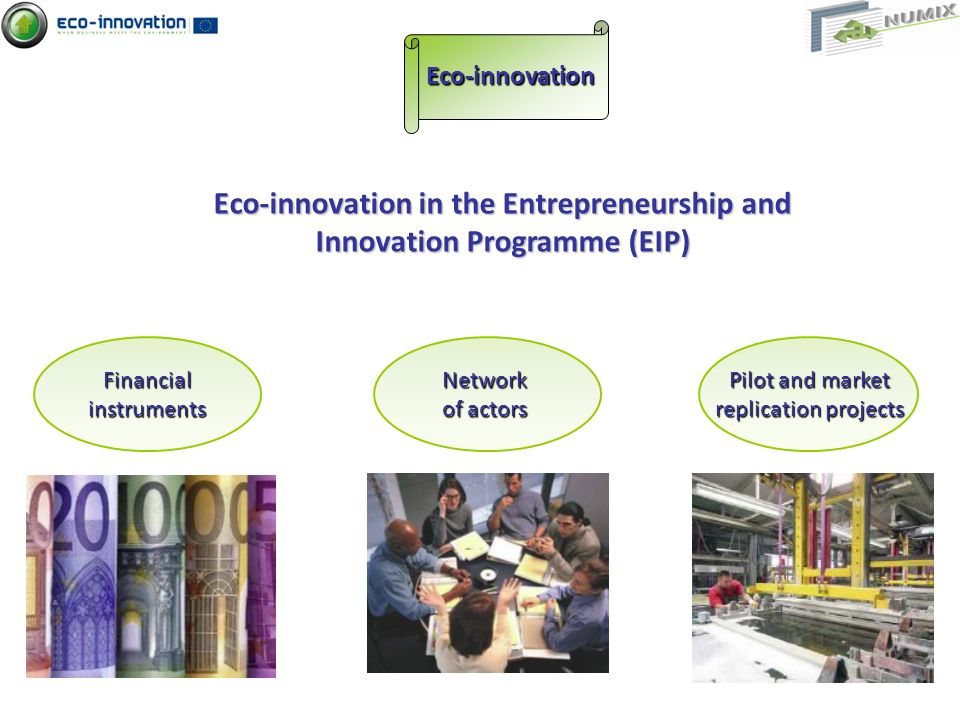Eco-innovation in the Entrepreneurship and Innovation Programme (EIP) Eco-innovation Pilot and market replication projects Network of actors Financialinstruments