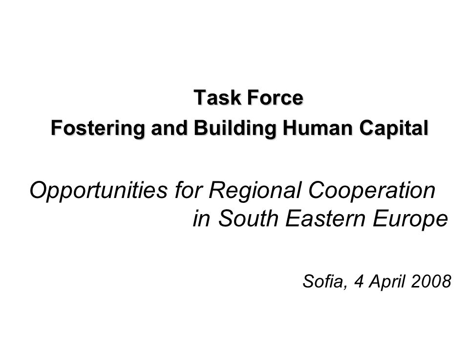 Task Force Fostering and Building Human Capital Opportunities for Regional Cooperation in South Eastern Europe Sofia, 4 April 2008