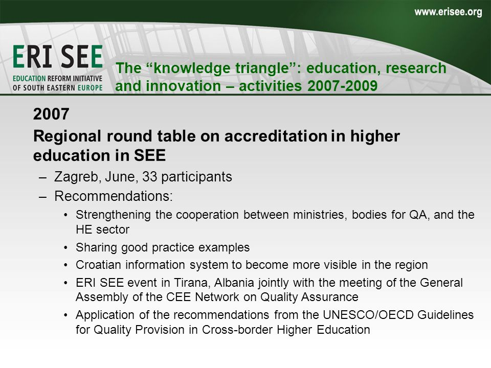 The knowledge triangle: education, research and innovation – activities 2007-2009 2007 Regional round table on accreditation in higher education in SEE –Zagreb, June, 33 participants –Recommendations: Strengthening the cooperation between ministries, bodies for QA, and the HE sector Sharing good practice examples Croatian information system to become more visible in the region ERI SEE event in Tirana, Albania jointly with the meeting of the General Assembly of the CEE Network on Quality Assurance Application of the recommendations from the UNESCO/OECD Guidelines for Quality Provision in Cross-border Higher Education