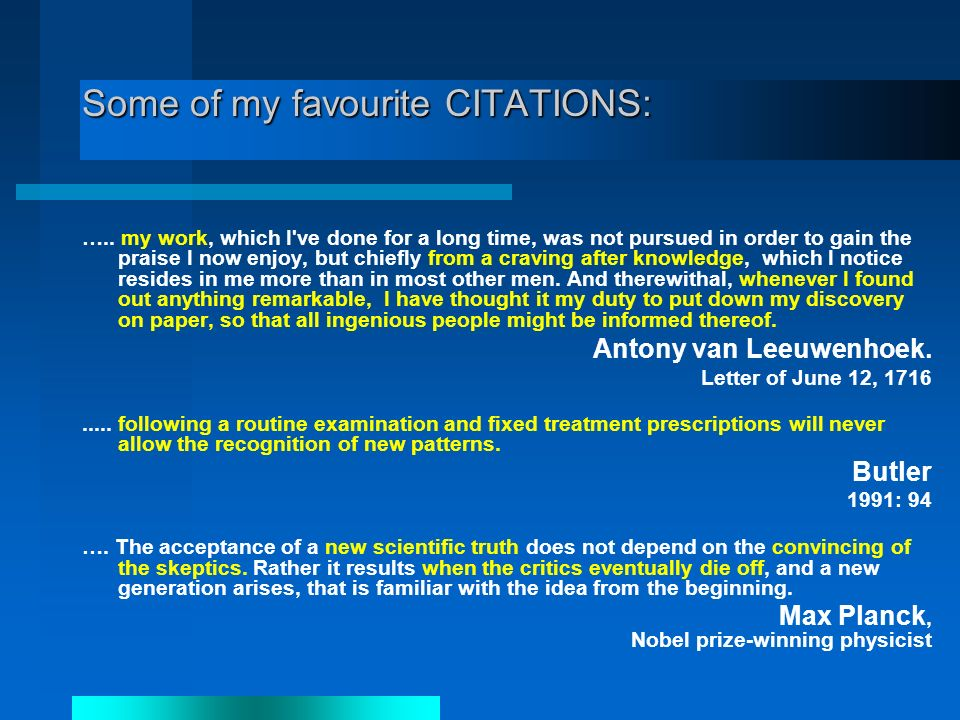 Some of my favourite CITATIONS: …..