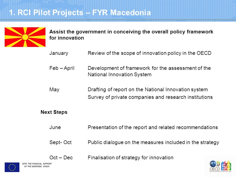 WITH THE FINANCIAL SUPPORT OF THE EUROPEAN UNION 1. RCI Pilot Projects – FYR Macedonia 4 Greater time and staff commitment Assist the government in co