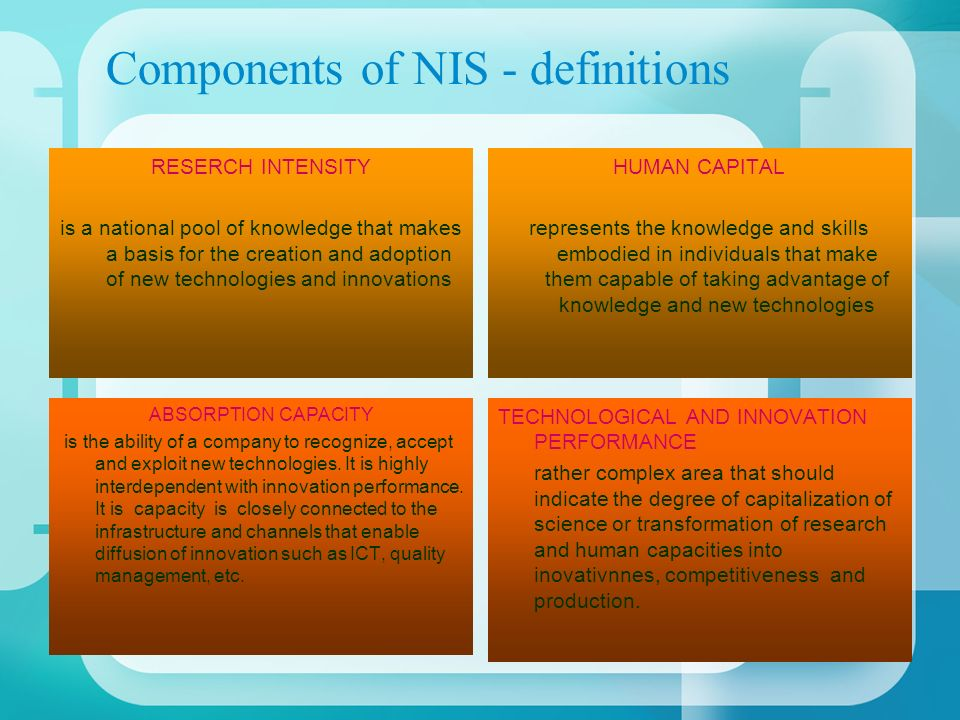Components of NIS - definitions RESERCH INTENSITY is a national pool of knowledge that makes a basis for the creation and adoption of new technologies