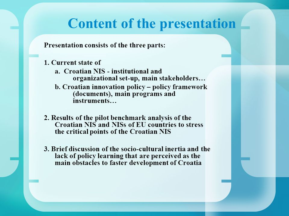 Content of the presentation Presentation consists of the three parts: 1.