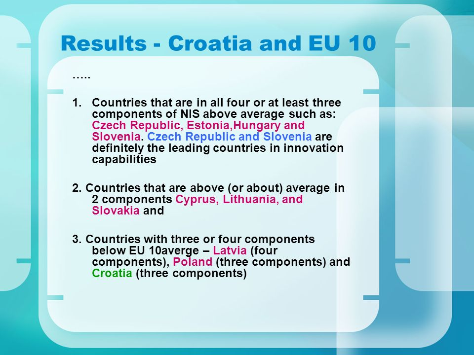 Results - Croatia and EU 10 ….. 1.Countries that are in all four or at least three components of NIS above average such as: Czech Republic, Estonia,Hu