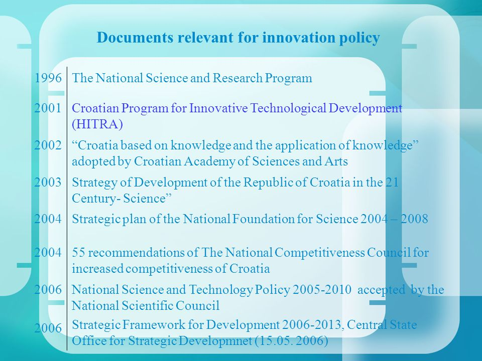 Documents relevant for innovation policy 1996The National Science and Research Program 2001Croatian Program for Innovative Technological Development (HITRA) 2002Croatia based on knowledge and the application of knowledge adopted by Croatian Academy of Sciences and Arts 2003Strategy of Development of the Republic of Croatia in the 21 Century- Science 2004Strategic plan of the National Foundation for Science 2004 – 2008 200455 recommendations of The National Competitiveness Council for increased competitiveness of Croatia 2006 National Science and Technology Policy 2005-2010 accepted by the National Scientific Council Strategic Framework for Development 2006-2013, Central State Office for Strategic Developmnet (15.05.