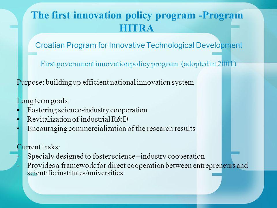 The first innovation policy program -Program HITRA Croatian Program for Innovative Technological Development First government innovation policy progra