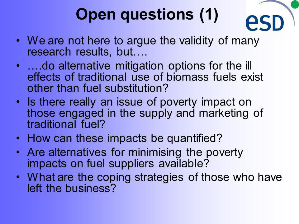 Open questions (1) We are not here to argue the validity of many research results, but…. ….do alternative mitigation options for the ill effects of tr