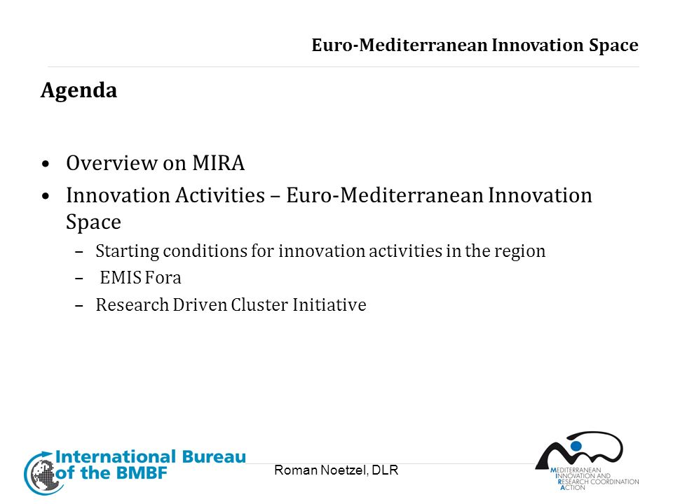 Roman Noetzel, DLR Agenda Overview on MIRA Innovation Activities – Euro-Mediterranean Innovation Space –Starting conditions for innovation activities