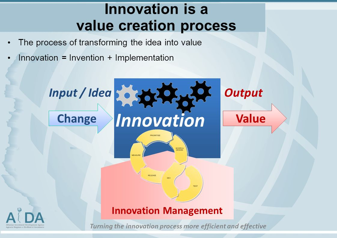 Innovation is a value creation process The process of transforming the idea into value Innovation = Invention + Implementation ChangeValue Innovation Management OutputInput / Idea Innovation Turning the innovation process more efficient and effective