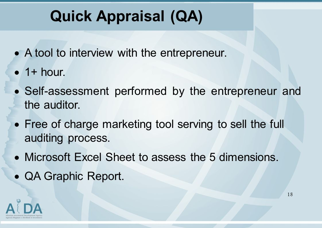 Quick Appraisal (QA) A tool to interview with the entrepreneur.