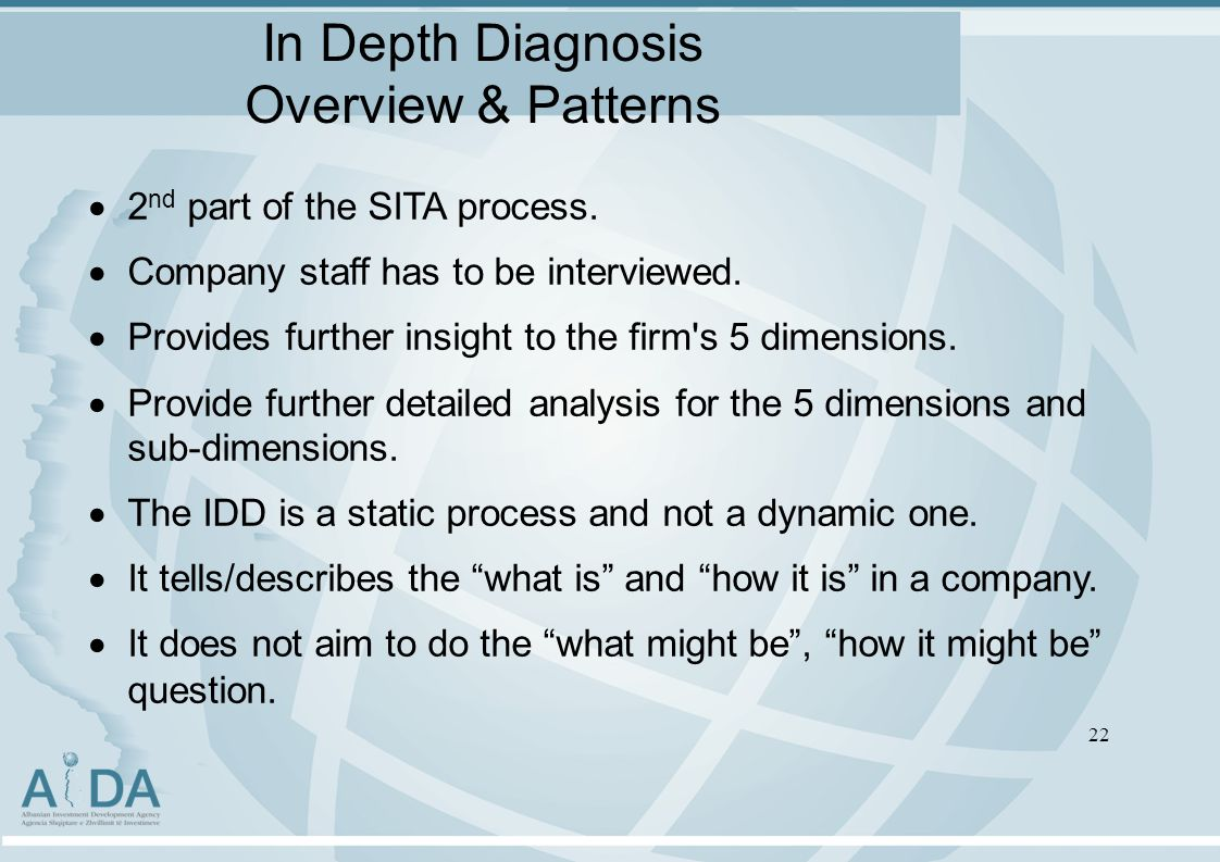 In Depth Diagnosis Overview & Patterns 2 nd part of the SITA process.