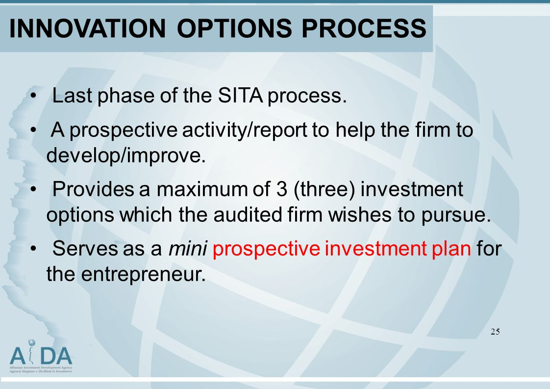 INNOVATION OPTIONS PROCESS Last phase of the SITA process.