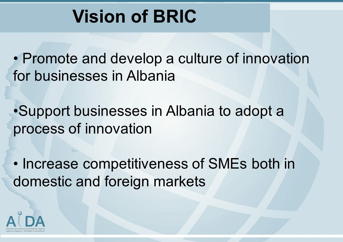 Promote and develop a culture of innovation for businesses in Albania Support businesses in Albania to adopt a process of innovation Increase competitiveness of SMEs both in domestic and foreign markets Vision of BRIC