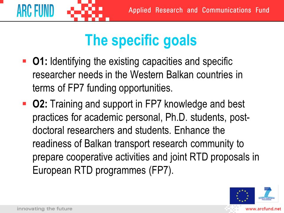 The specific goals O1: Identifying the existing capacities and specific researcher needs in the Western Balkan countries in terms of FP7 funding opportunities.