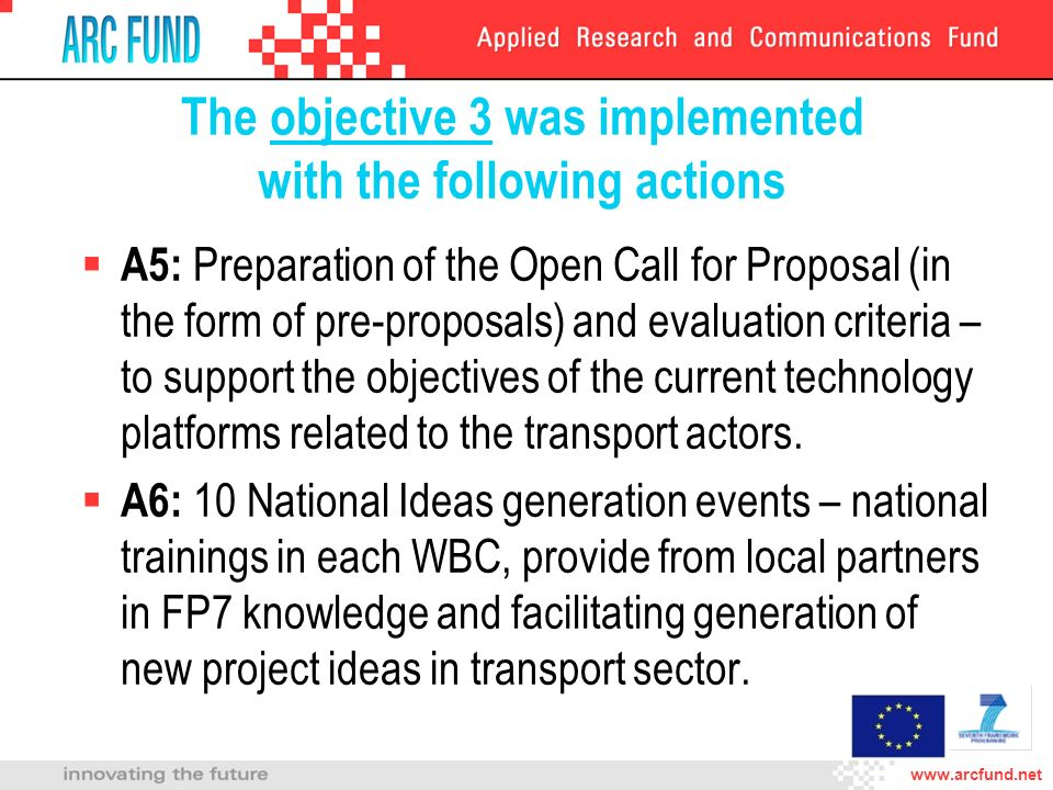 The objective 3 was implemented with the following actions A5: Preparation of the Open Call for Proposal (in the form of pre-proposals) and evaluation criteria – to support the objectives of the current technology platforms related to the transport actors.