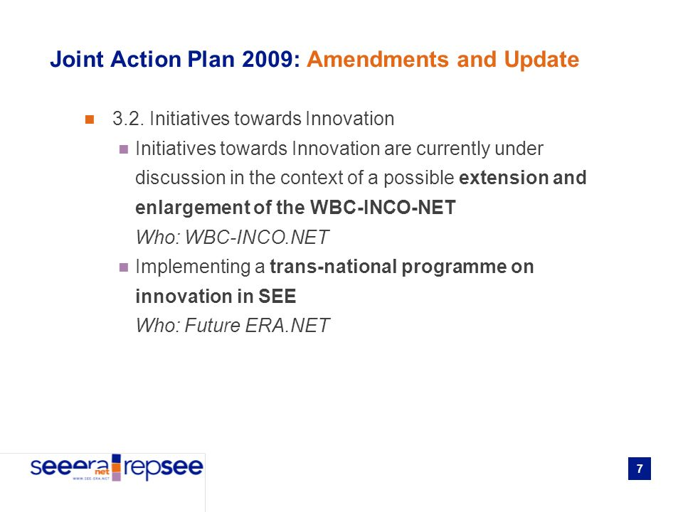 7 Joint Action Plan 2009: Amendments and Update 3.2.