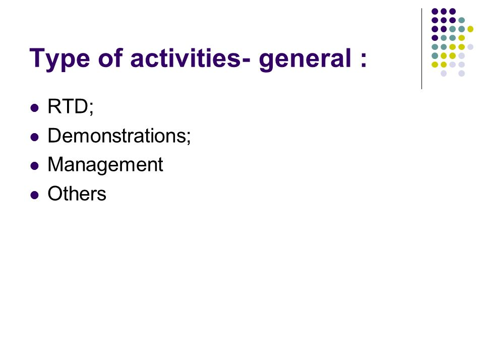 Type of activities- general : RTD; Demonstrations; Management Others