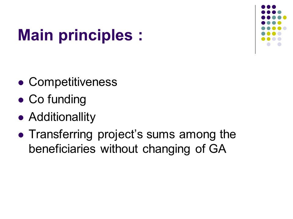 Main principles : Competitiveness Co funding Additionallity Transferring projects sums among the beneficiaries without changing of GA