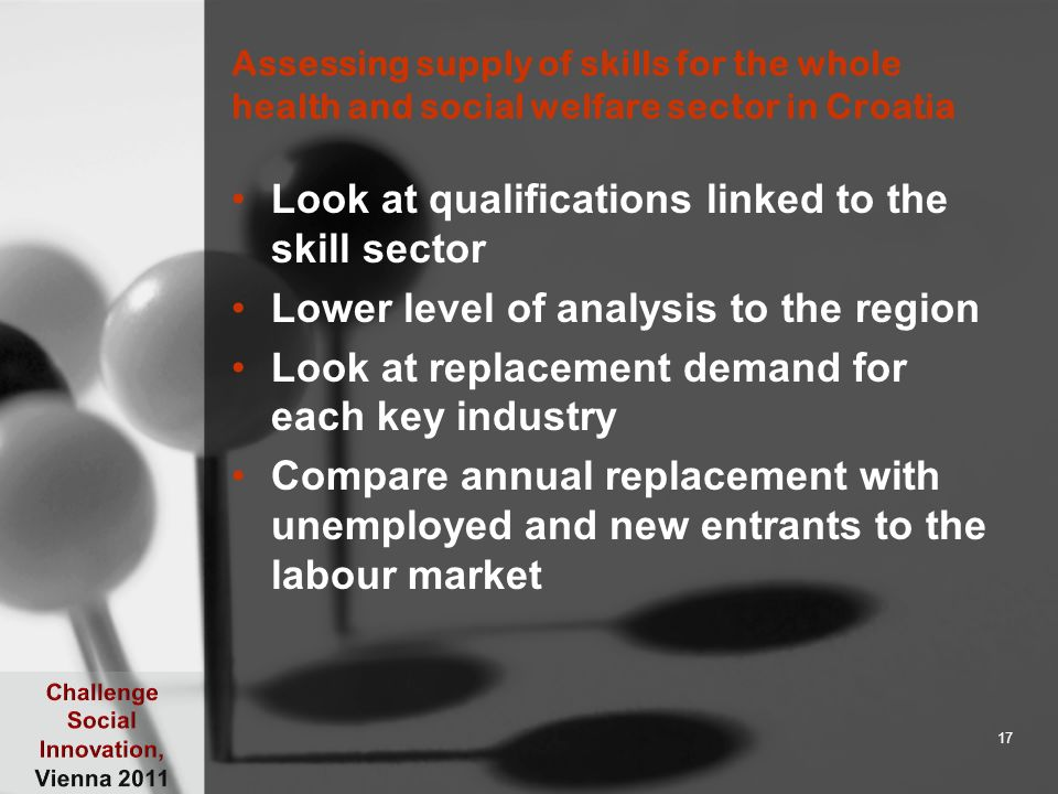 Assessing supply of skills for the whole health and social welfare sector in Croatia Look at qualifications linked to the skill sector Lower level of