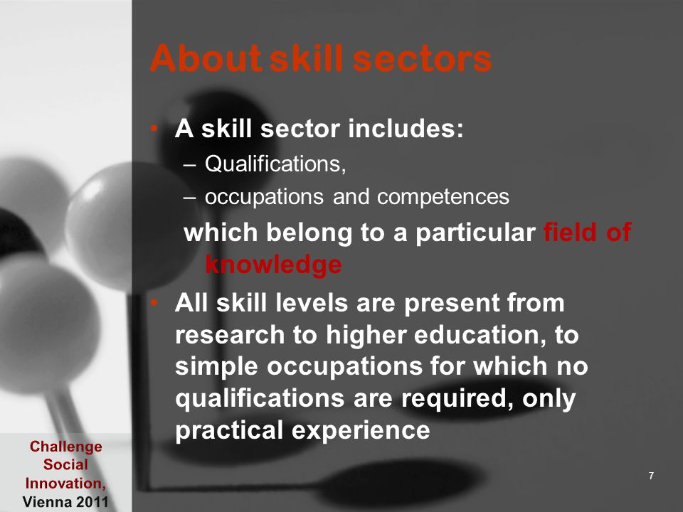 About skill sectors A skill sector includes: –Qualifications, –occupations and competences which belong to a particular field of knowledge All skill l