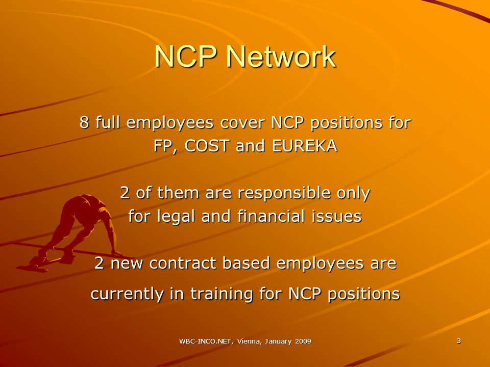 WBC-INCO.NET, Vienna, January 2009 3 NCP Network 8 full employees cover NCP positions for FP, COST and EUREKA 2 of them are responsible only for legal