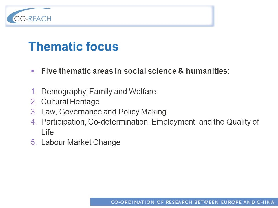 Thematic focus Five thematic areas in social science & humanities: 1.Demography, Family and Welfare 2.Cultural Heritage 3.Law, Governance and Policy Making 4.Participation, Co-determination, Employment and the Quality of Life 5.Labour Market Change