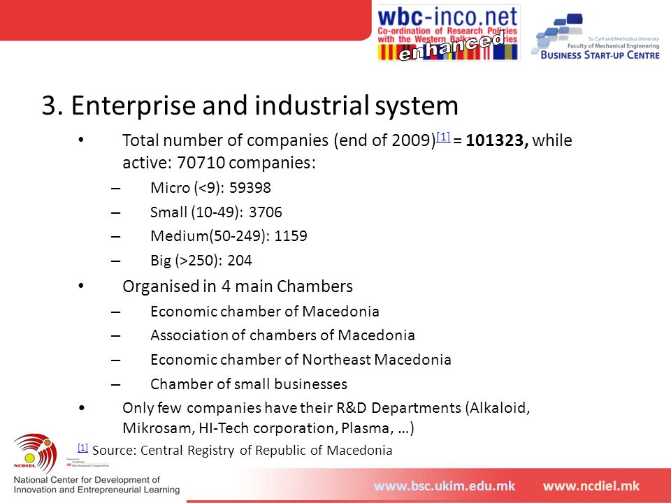 www.bsc.ukim.edu.mkwww.ncdiel.mk 3. Enterprise and industrial system Total number of companies (end of 2009) [1] = 101323, while active: 70710 compani