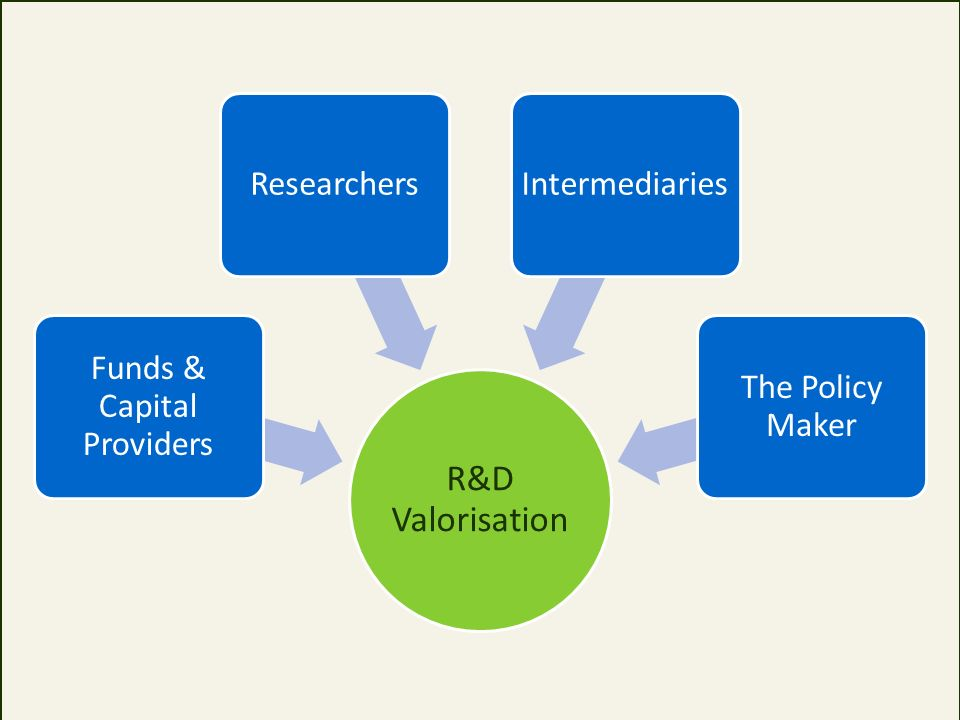 R&D Valorisation Funds & Capital Providers ResearchersIntermediaries The Policy Maker