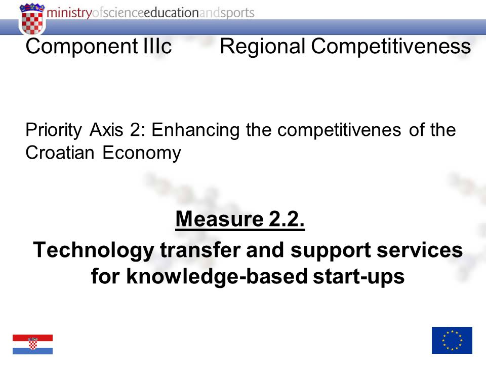 Component IIIcRegional Competitiveness Priority Axis 2: Enhancing the competitivenes of the Croatian Economy Measure 2.2.