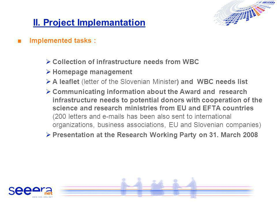 II. Project Implemantation Implemented tasks : Collection of infrastructure needs from WBC Homepage management A leaflet (letter of the Slovenian Mini