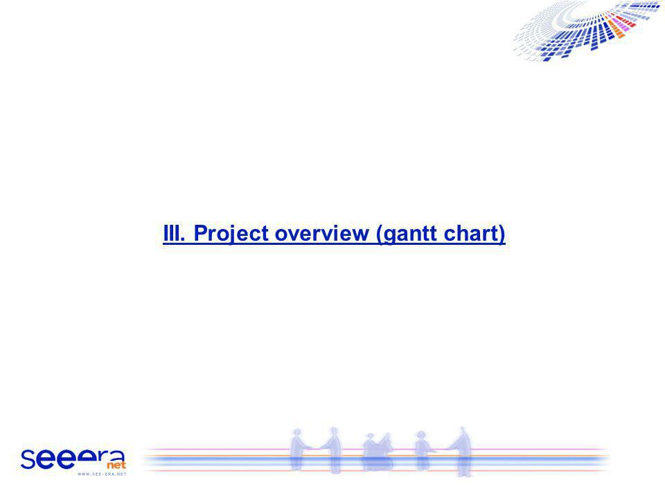 III. Project overview (gantt chart)
