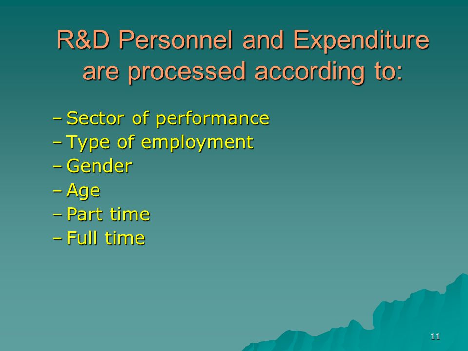 11 R&D Personnel and Expenditure are processed according to: –Sector of performance –Type of employment –Gender –Age –Part time –Full time