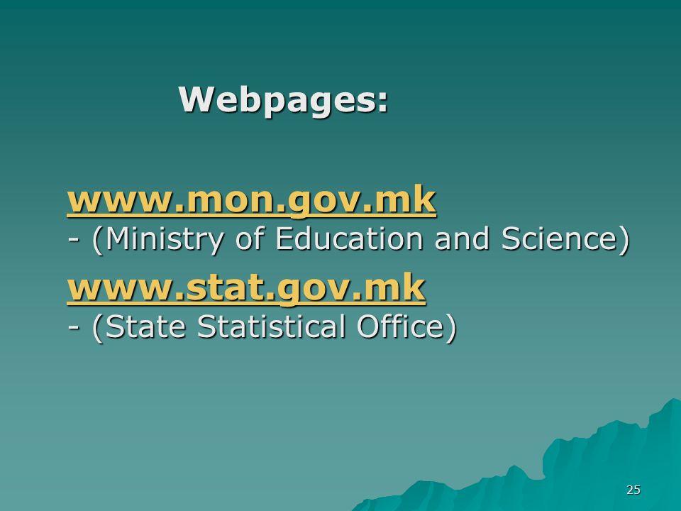 25 Webpages: www.mon.gov.mk www.mon.gov.mk - (Ministry of Education and Science) www.mon.gov.mk www.stat.gov.mk www.stat.gov.mk - (State Statistical O