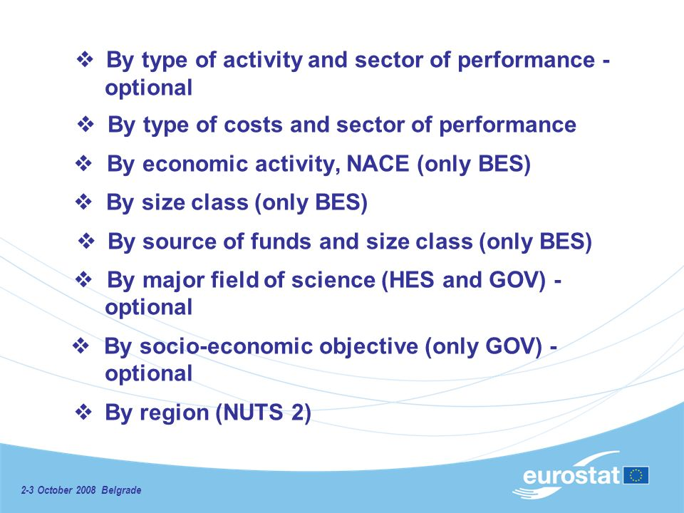 2-3 October 2008 Belgrade By type of activity and sector of performance - optional By type of costs and sector of performance By economic activity, NACE (only BES) By size class (only BES) By source of funds and size class (only BES) By major field of science (HES and GOV) - optional By socio-economic objective (only GOV) - optional By region (NUTS 2)