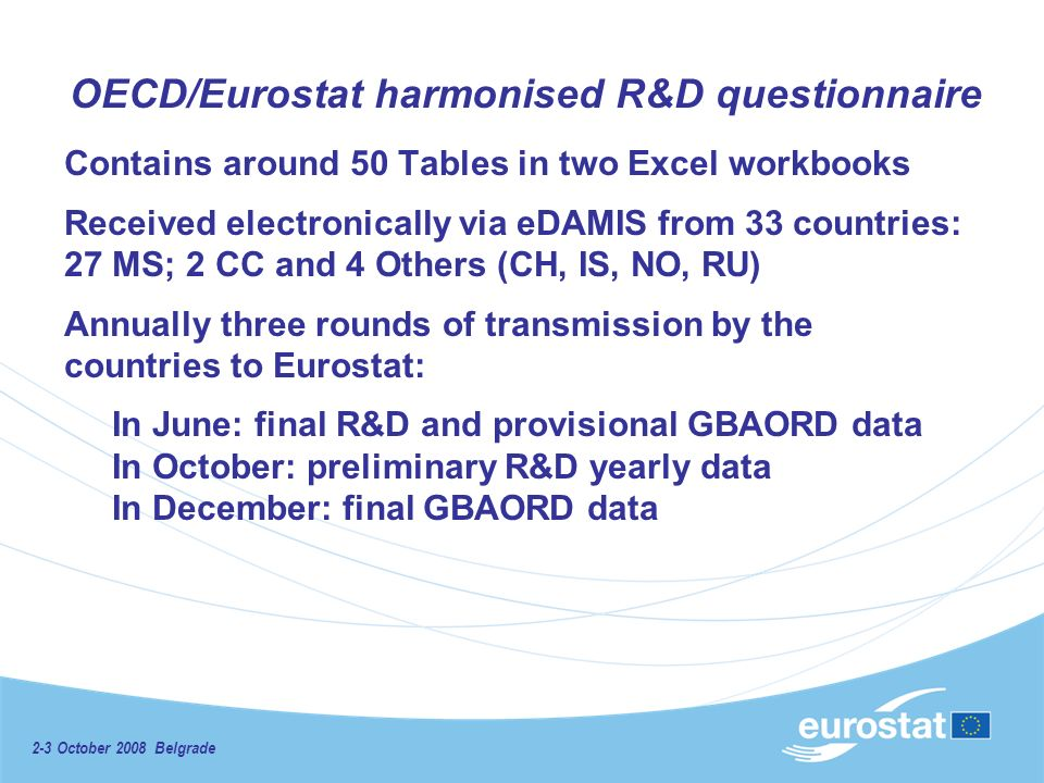 OECD/Eurostat harmonised R&D questionnaire Contains around 50 Tables in two Excel workbooks Received electronically via eDAMIS from 33 countries: 27 MS; 2 CC and 4 Others (CH, IS, NO, RU) Annually three rounds of transmission by the countries to Eurostat: In June: final R&D and provisional GBAORD data In October: preliminary R&D yearly data In December: final GBAORD data