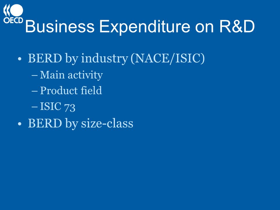 Business Expenditure on R&D BERD by industry (NACE/ISIC) –Main activity –Product field –ISIC 73 BERD by size-class