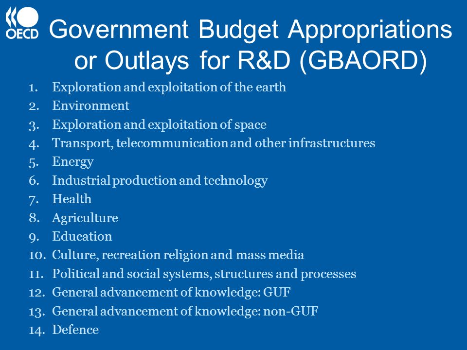 Government Budget Appropriations or Outlays for R&D (GBAORD) 1.Exploration and exploitation of the earth 2.Environment 3.Exploration and exploitation