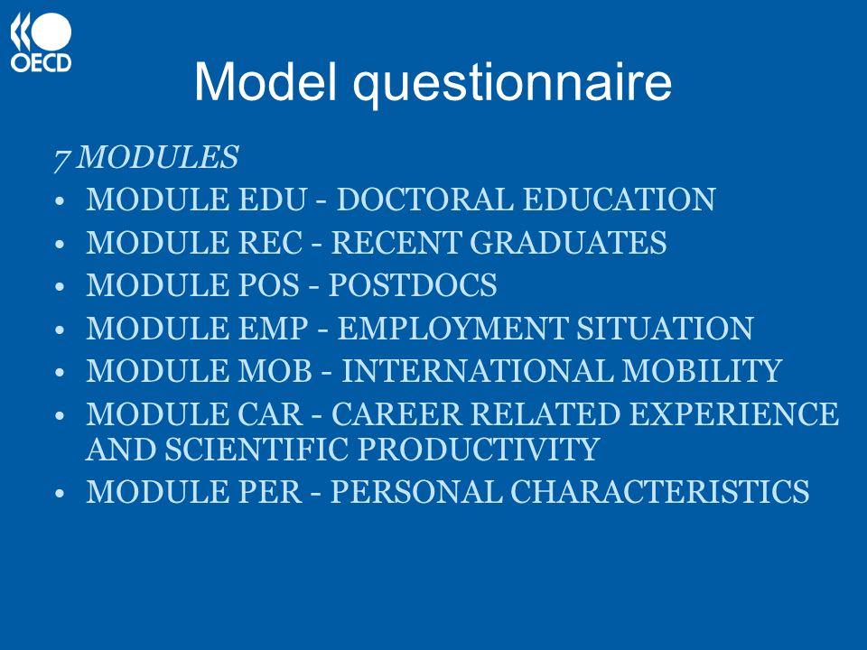 Model questionnaire 7 MODULES MODULE EDU - DOCTORAL EDUCATION MODULE REC - RECENT GRADUATES MODULE POS - POSTDOCS MODULE EMP - EMPLOYMENT SITUATION MO